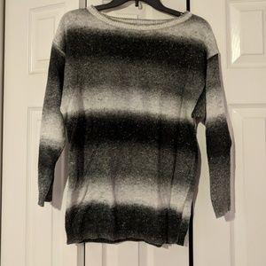 Long black grey striped sweater